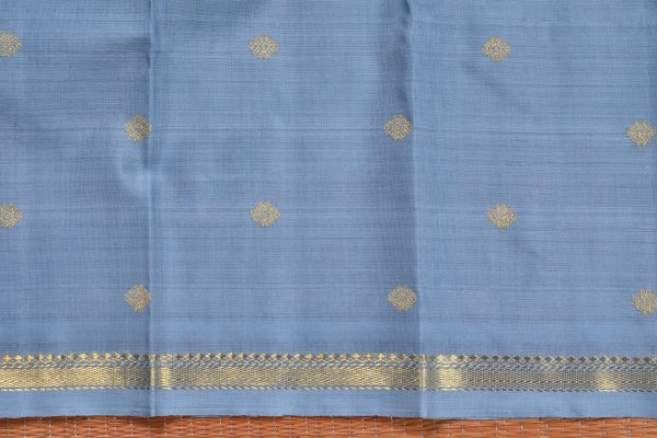 Grey organza kanchi silk saree with zari border blouse