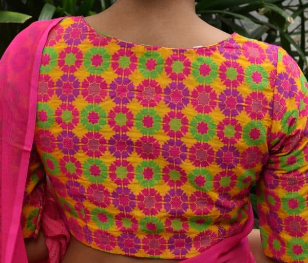 Multicolor thread woven brocade ready to wear blouse