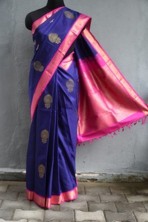 Navy blue kanchi silk saree with pink korvai border