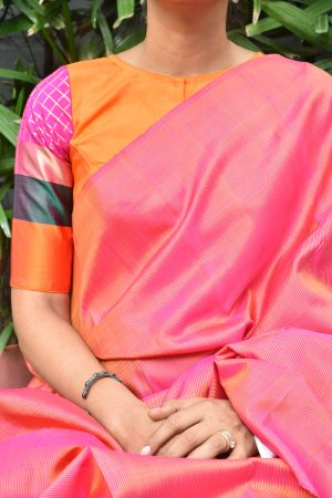 Orange and muticolor border ready to wear kanchi silk blouse