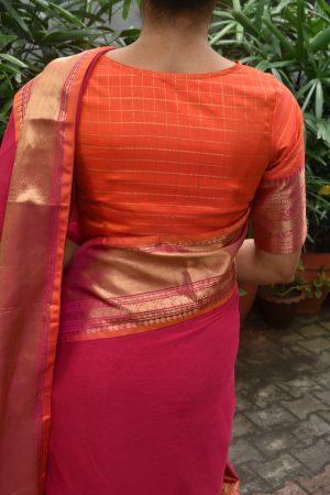 Orange zari checks and pink zari sleevea ready to wear blouse