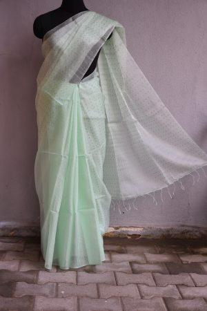 Pale green handloom sequins organza Saree