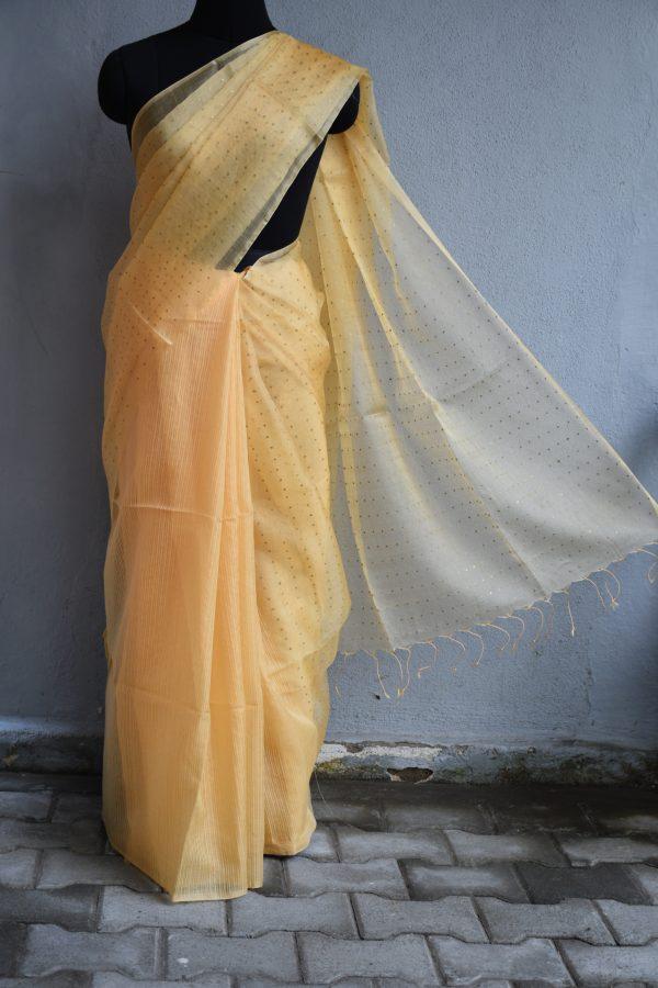 Pale yellow handloom sequins organza Saree