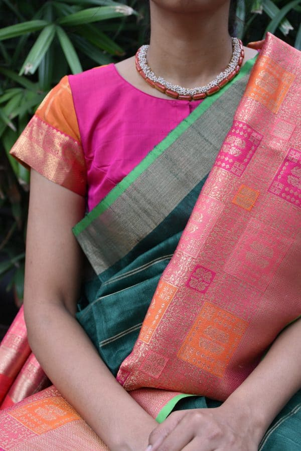 Pink and mustard zari checks with mayil buttis woven kanchi silk ready to wear blouse