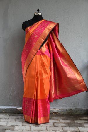 Pink and orange zari checks border kanchi silk saree