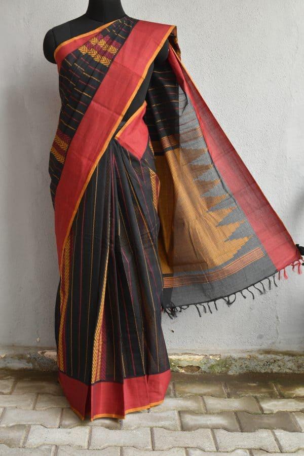 Black hand woven thread weave kanchi cotton saree