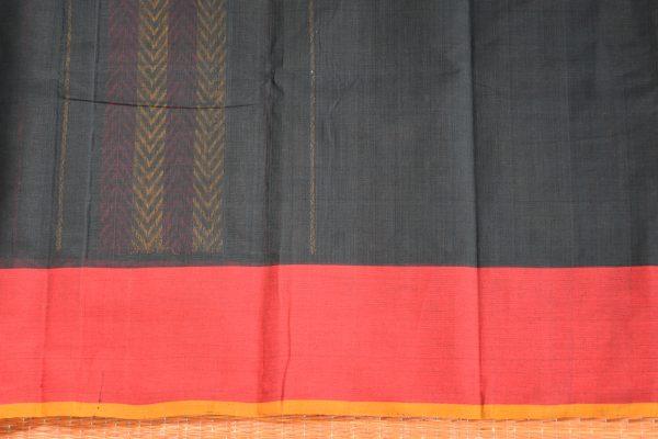 Black hand woven thread weave kanchi cotton saree blouse