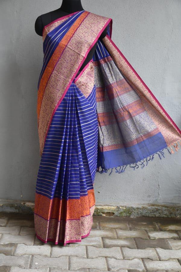 Blue hand woven stripes kanchi cotton saree