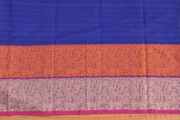 Blue hand woven stripes kanchi cotton saree blouse