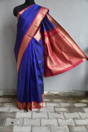 Blue with red zari border kanchi silk saree