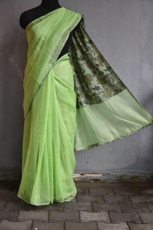 Blush green supernet saree with printed pallu