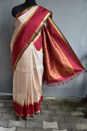 Cream jacquard weave with red border kanchi silk saree