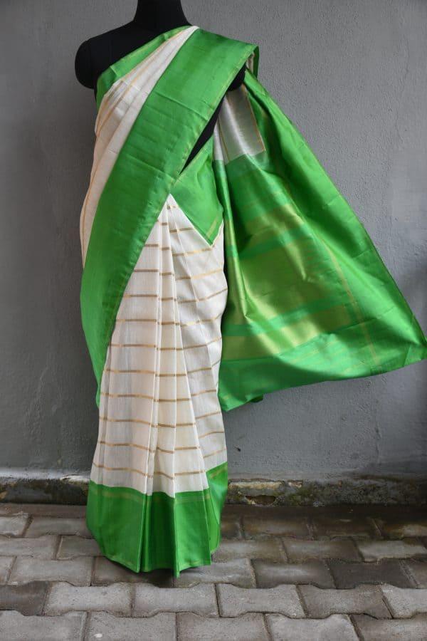 Cream zari stripes organza kancheepuram silk saree with green border