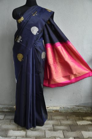 Dark blue jacquard woven kanchi silk saree