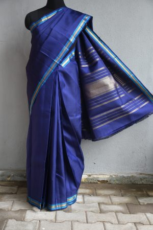 Dark blue kanchi silk saree