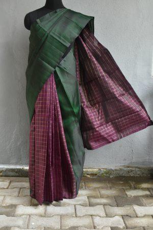 Dark green and purple partly pallu organza kancheepuram silk saree