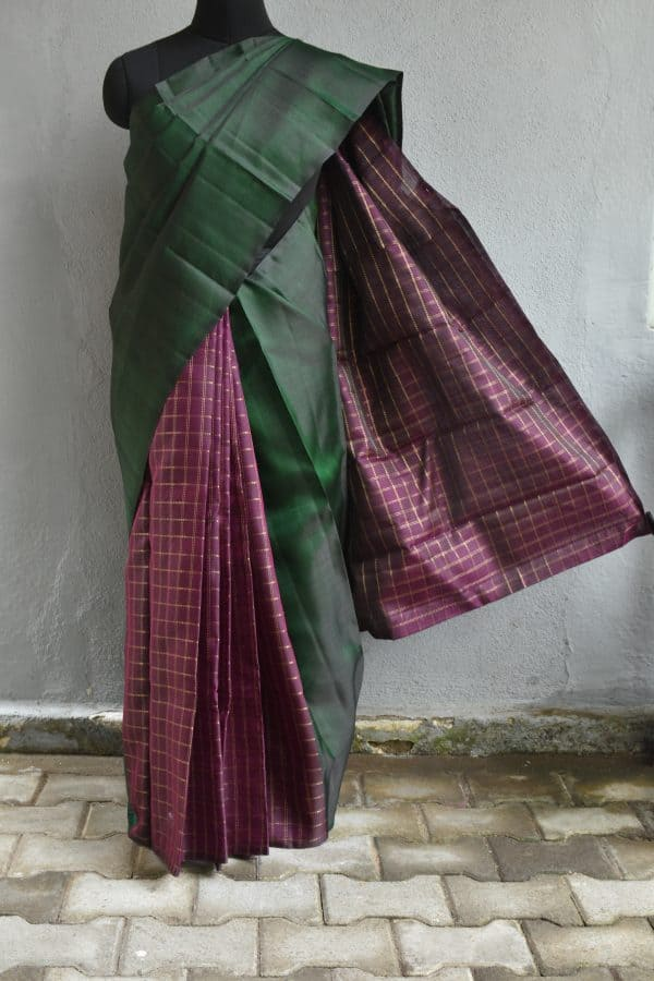 Dark green and purple partly pallu organza kancheepuram silk saree