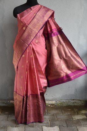 Dusty pink organza kancheepuram saree with dark pink border