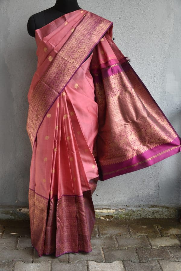 Dusty pink organza kancheepuram saree with dark pink border