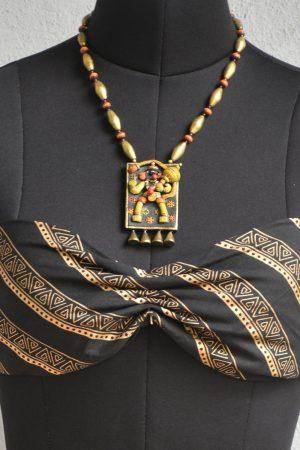 Gold and yellow hanuman terracotta neck set
