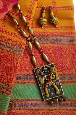 Gold and yellow hanuman terracotta neck set 1