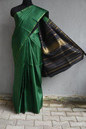 Green and black checks thread weave kancheepuram silk saree 1