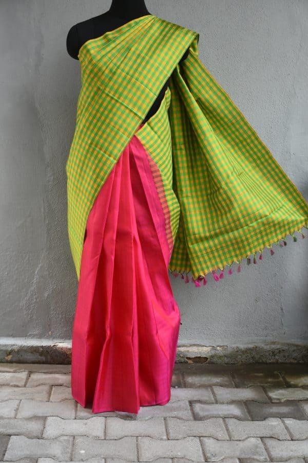 Green and pink checks kanchi silk saree