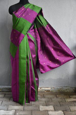 Green and purple panel zari buttis kanchi silk saree