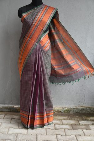 Grey checks kanchi cotton saree with orange border1