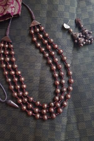 Maroon terracotta neck set1