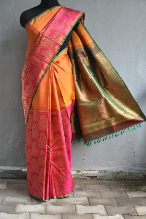 Mustard and pink mango zari woven kanchi silk saree