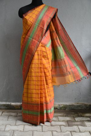 Mustard hand woven thread weave checks kanchi cotton saree