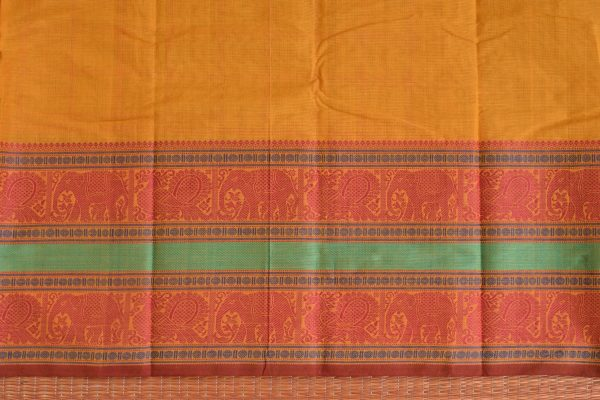 Mustard hand woven thread weave checks kanchi cotton saree blouse