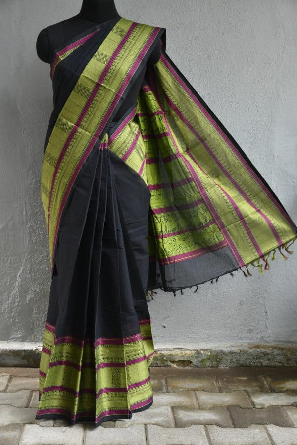 Navy blue kanchi cotton long border saree1