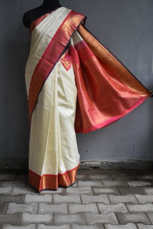 Offwhite and peach zari border kanchi silk saree