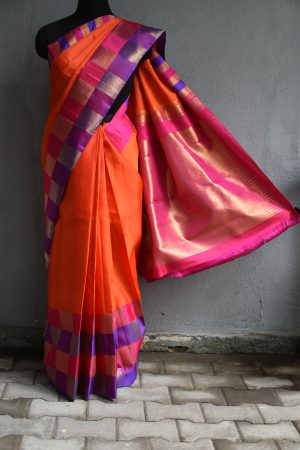 Orange checks border kanchi silk saree
