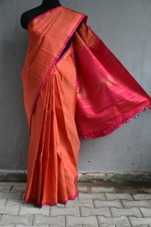 Orange matte thread weave kancheepuram silk saree 1