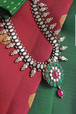 Oxidized pure silver green stone pendant necklace