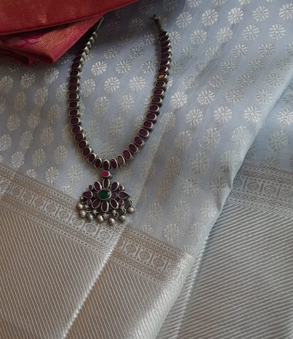 Oxidized pure silver maroon stones necklace