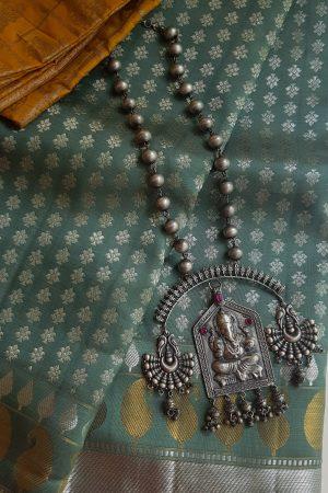 Oxidized pure silver pillayar pendant necklace