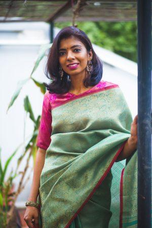 Pale green zari woven organza kanchi silk saree