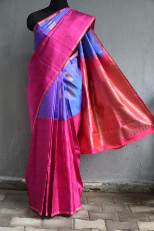 Pink and purple jacquard kanchi silk saree