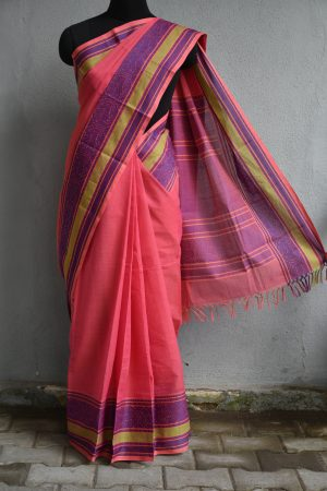 Pink and purple kanchi cotton saree