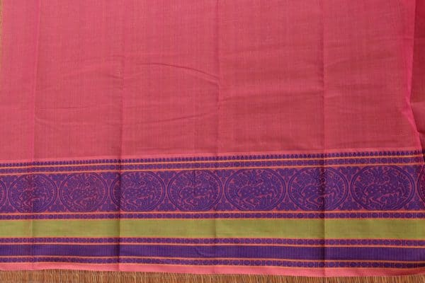 Pink and purple kanchi cotton saree blouse