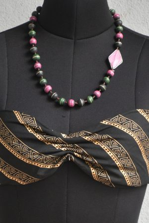 Pink green and black terracotta necklace