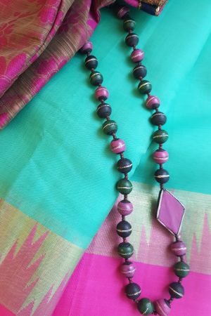 Pink green and black terracotta necklace1