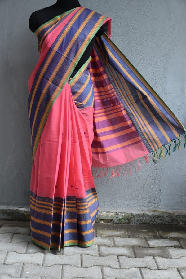 Pink kanchi cotton saree with long border blouse