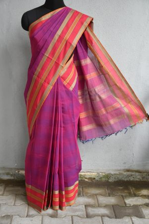 Purple hand woven thread weave kanchi cotton saree