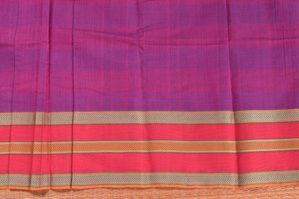 Purple hand woven thread weave kanchi cotton saree blouse