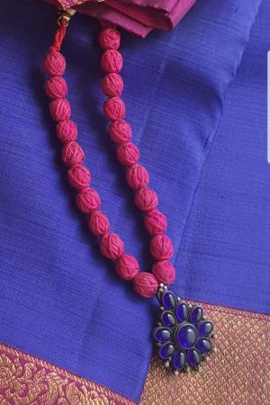 Red balls and blue stone silver necklace